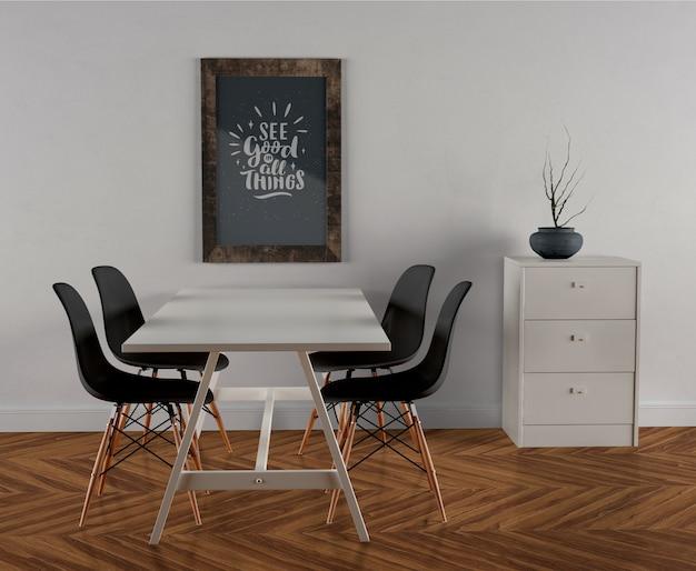 Houten frame mock-up opknoping op de muur Gratis Psd