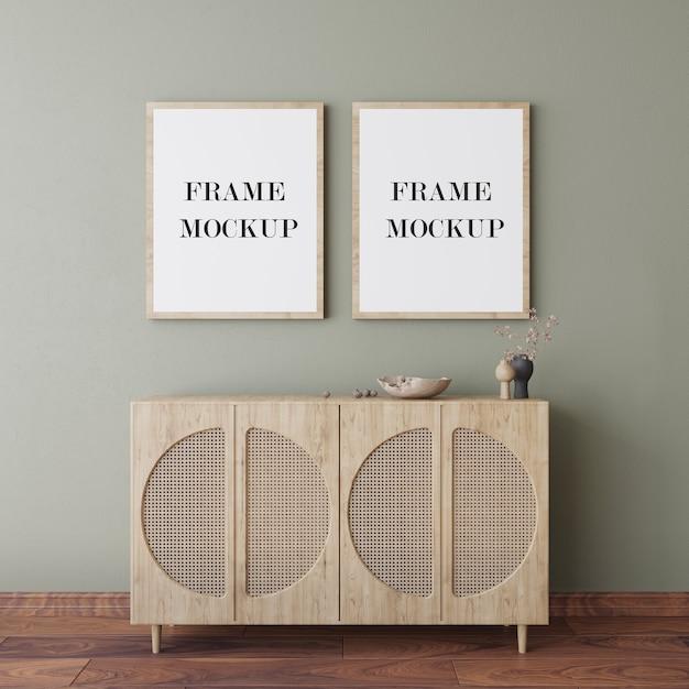 Houten frames op muur 3d-rendering mockup Premium Psd