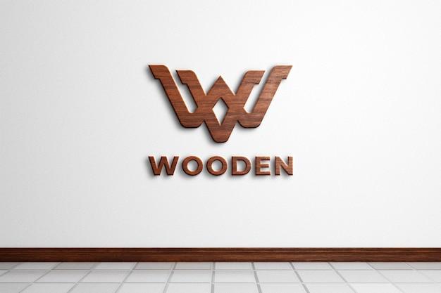 Houten logo mockup op witte muur 3d-rendering Premium Psd