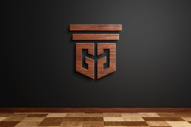 Houten logo-mockup op zwarte muur 3d-rendering Premium Psd