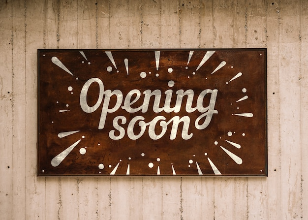 Houten opening binnenkort bord Gratis Psd