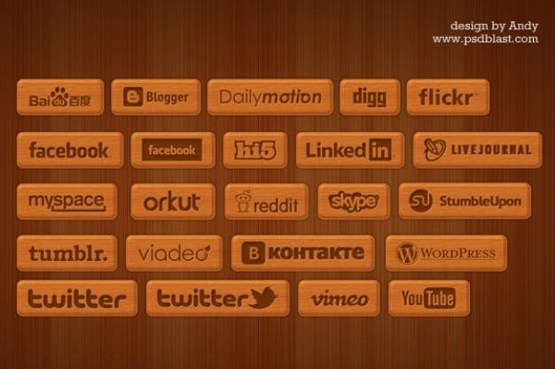 Houten stijl sociale pictogrammen Gratis Psd