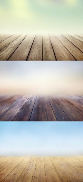 Houten vloeren achtergronden met vervaagt Gratis Psd