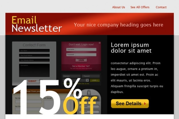 Html email template Psd Gratuite
