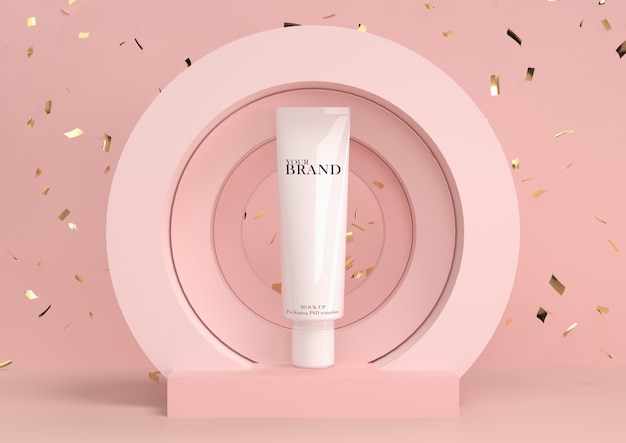 Huidverzorging hydraterende cosmetische premium producten met abstracte achtergrond. Premium Psd
