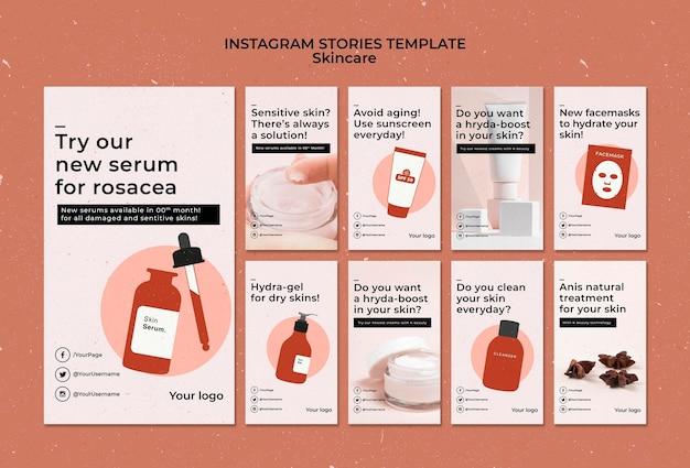 Huidverzorging instagram verhalen sjabloon met foto Gratis Psd