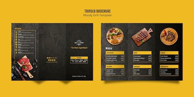 Humeurige grill driebladige brochuremalplaatje Gratis Psd