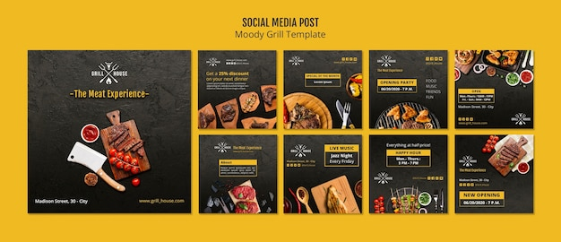 Humeurige grill sociale media post sjabloon Gratis Psd