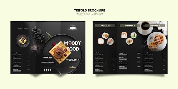 Humeurige voedsel driebladige brochure Gratis Psd