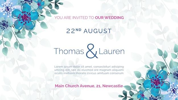 Huwelijksuitnodiging met blauw bloemenframe Gratis Psd
