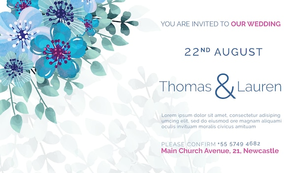 Huwelijksuitnodiging met blauwe bloemen Gratis Psd
