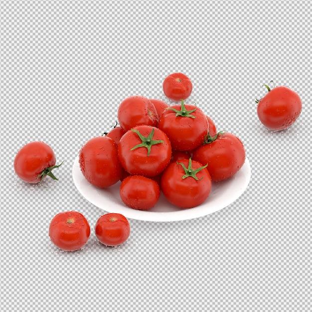 I pomodori isometrici 3d rendono Psd Premium