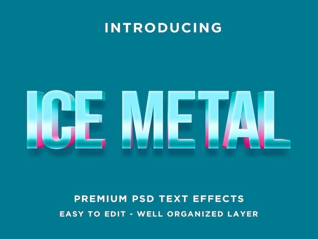 Ice metal 3d teksteffectsjabloon psd Premium Psd
