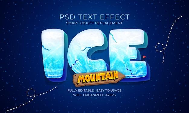 Ice mountain-teksteffectsjabloon Premium Psd