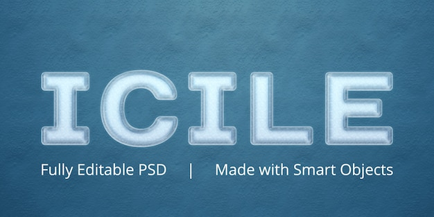 Icile tekststijleffect Premium Psd