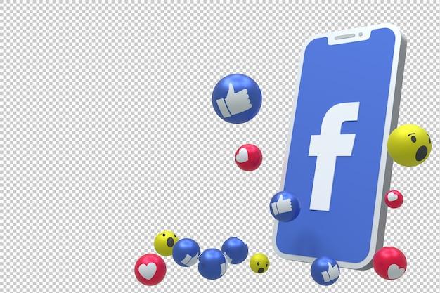 El icono de facebook en la pantalla del teléfono inteligente o móvil render 3d y las reacciones de facebook aman, wow, como emoji 3d PSD Premium
