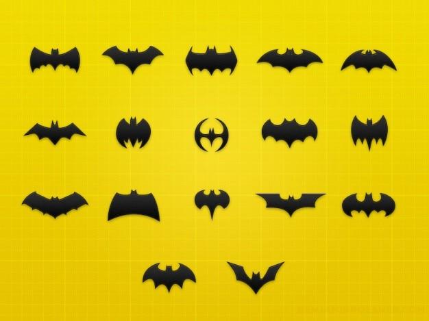 Iconos murciélago con las alas PSD gratuito