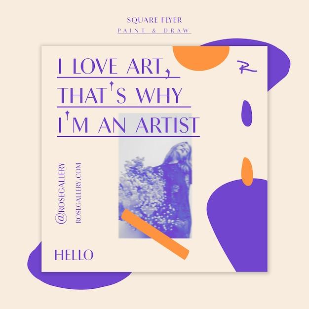 Ik hou van je kunst vierkante flyer-sjabloon Gratis Psd
