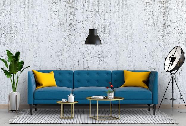 Il calcestruzzo interno della parete del salone con il sofà, pianta, lampada, 3d rende Psd Premium
