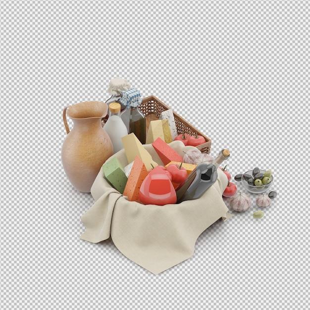 Il canestro di picnic con alimento 3d rende Psd Premium