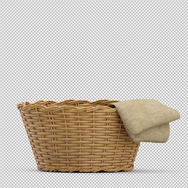 Il cestino 3d isolato di picnic isometrico rende Psd Premium