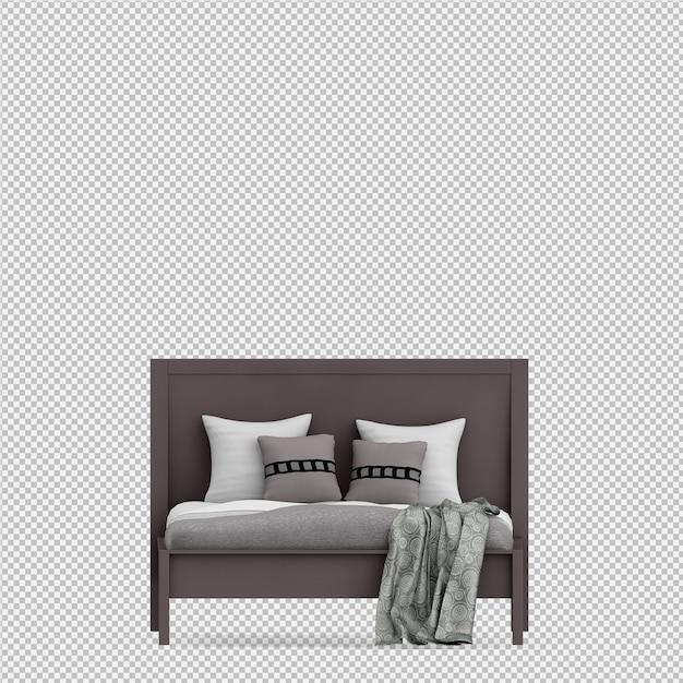 Il letto 3d isometrico rende Psd Premium