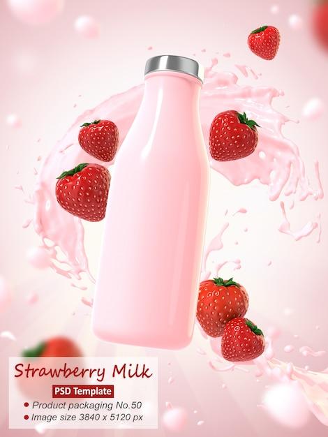 Il modello 3d del fondo del latte della fragola rende Psd Premium