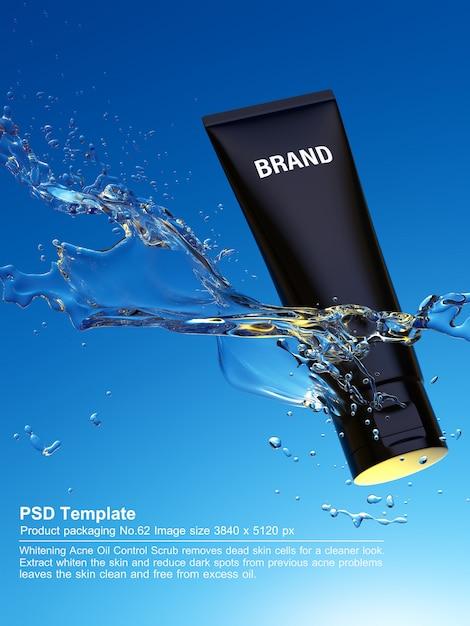 Il prodotto di bellezza nero in acqua blu fondo 3d rende Psd Premium