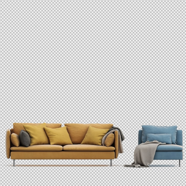 Il rendering isometrico 3d del sofà rende Psd Premium