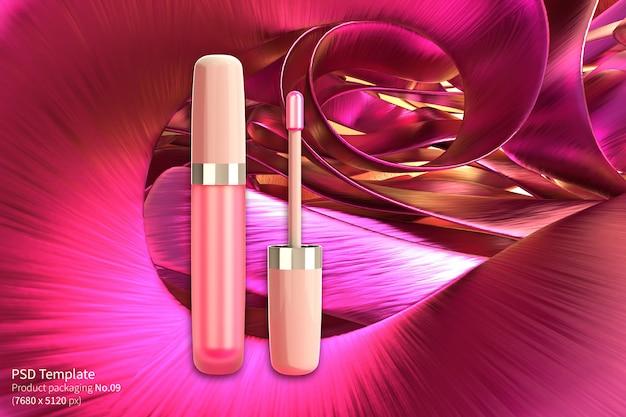 Il rossetto rosa su fondo rosa 3d rende Psd Premium