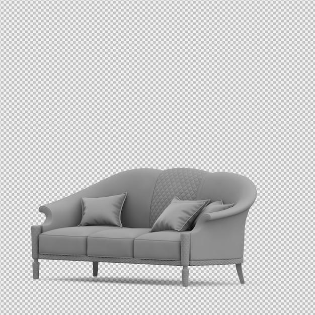 Il sofà isometrico 3d isolato rende Psd Premium