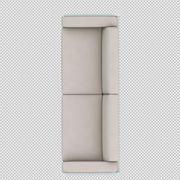 Il sofà isometrico 3d rende Psd Premium