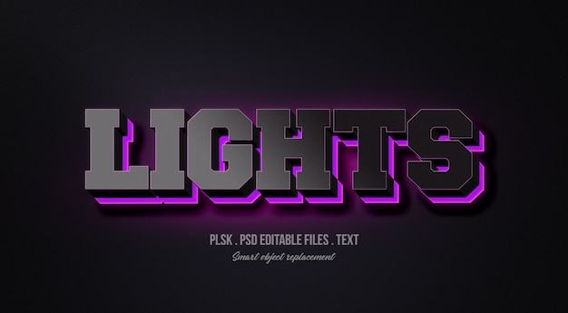 Illumina il modello di effetto di stile del testo 3d Psd Premium