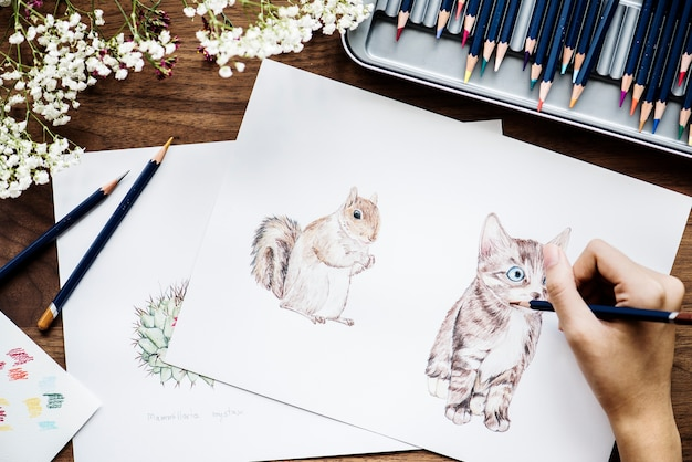 Illustrationist che colora il concetto adorabile dell'area di lavoro degli animali Psd Gratuite