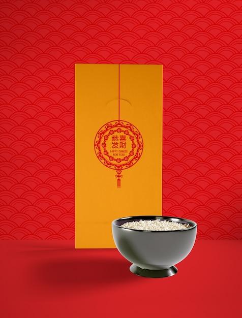 Ilustración del año nuevo chino con delicioso plato de arroz PSD gratuito