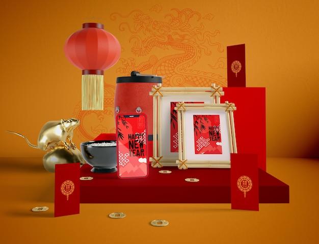 Ilustración del año nuevo chino con maqueta PSD gratuito