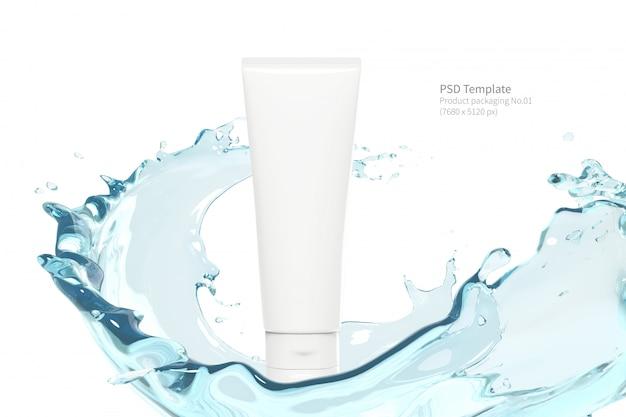 Imballaggio del prodotto con acqua che spruzza su sfondo bianco render 3d Psd Premium