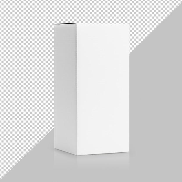 Imballaggio del prodotto di forma alta della scatola bianca nel modello di vista laterale Psd Premium