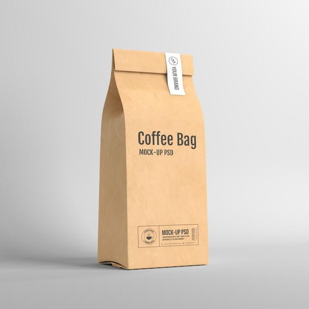 Imballaggio della busta di carta di caffè Psd Premium