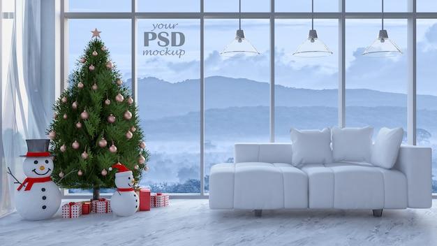 Immagine della rappresentazione 3d del salone nel giorno di natale Psd Premium