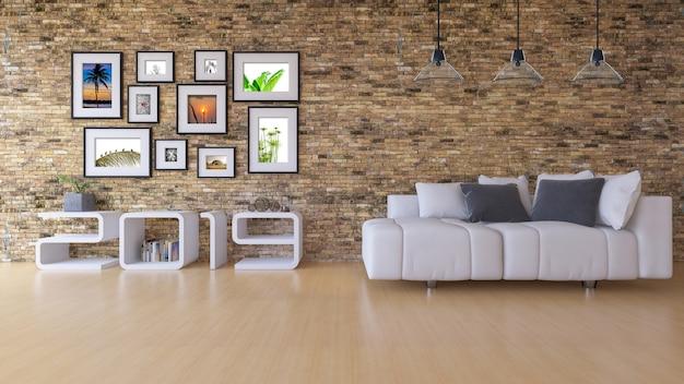 Immagine della rappresentazione 3d della mensola di legno 2019 sul muro di mattoni bianco. Psd Premium