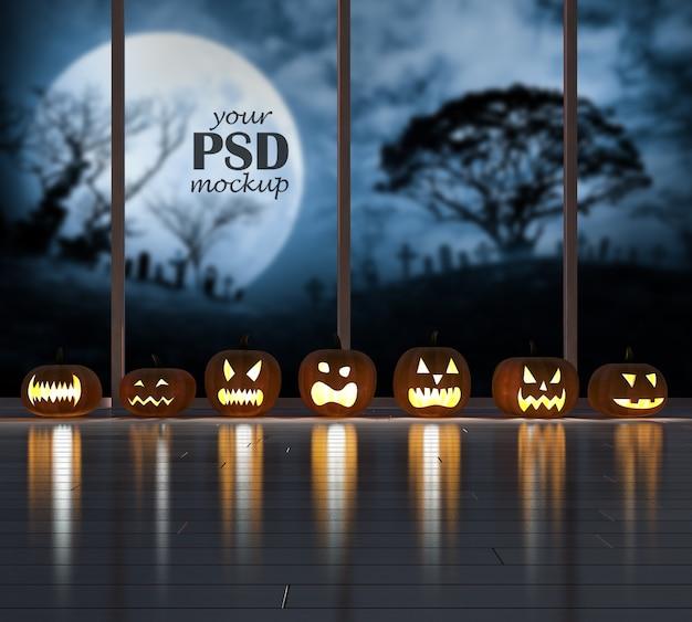 Immagine della rappresentazione 3d della testa della zucca nella stanza scura con il modello di vista della finestra Psd Premium