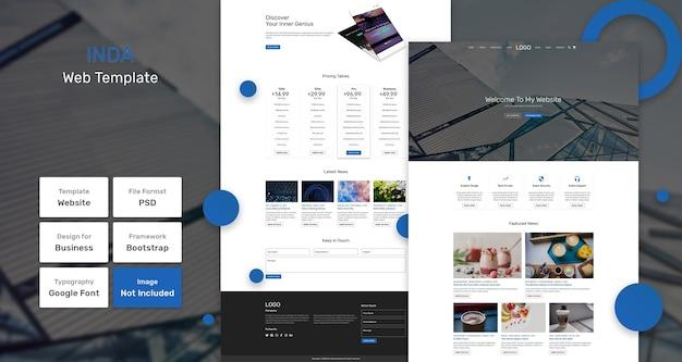 Inda-websjabloon voor bedrijven en bureaus Premium Psd