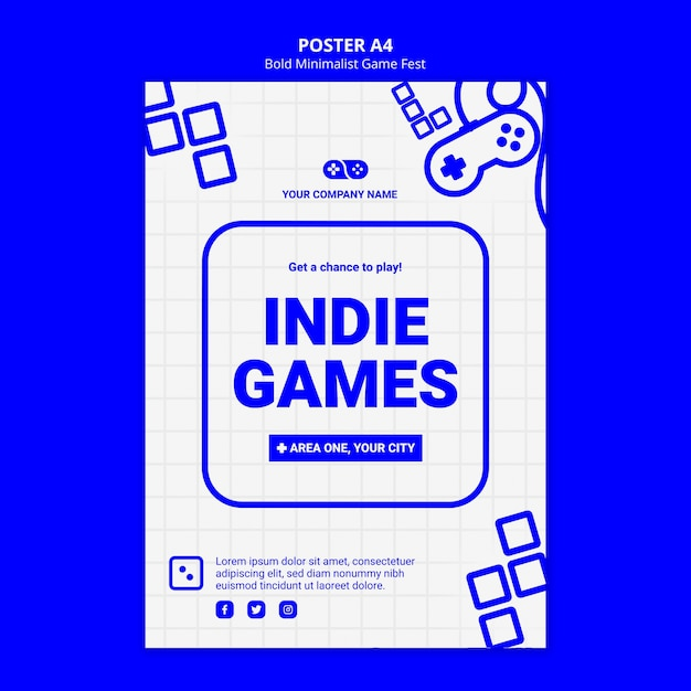 Indie videogames jam fest poster sjabloon Gratis Psd