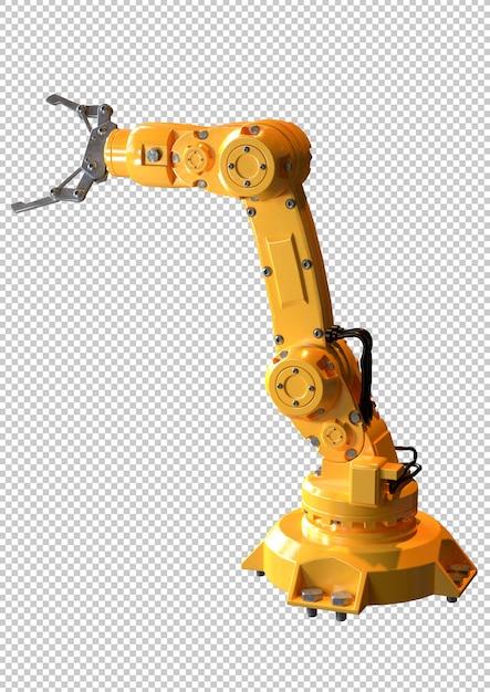 Industriële robotarm geïsoleerd. apparatuur die wordt gebruikt in de auto-industrie Premium Psd