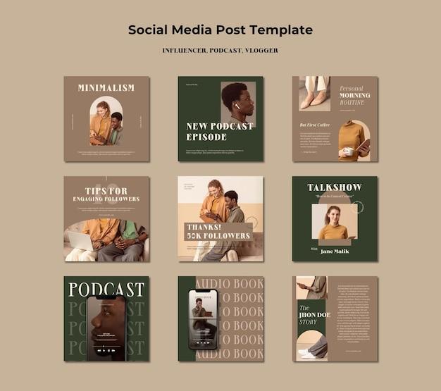 Influencer concept sociale media post sjabloon Gratis Psd