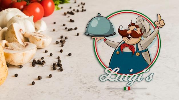 Ingredientes de comida italiana de primer plano con logo PSD gratuito