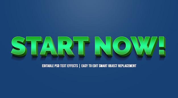 Inizia ora con effetti di testo sfumato verde Psd Premium