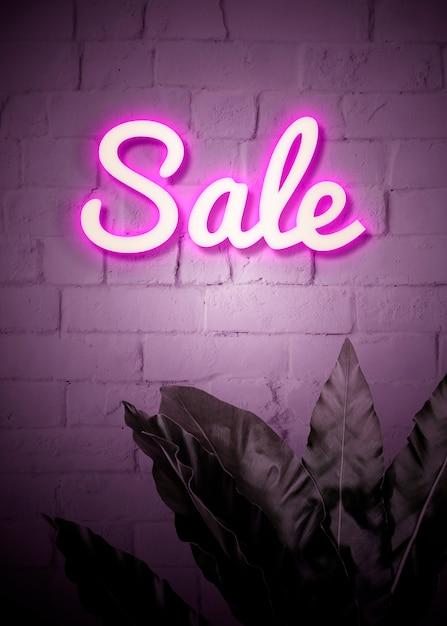 Insegna al neon di vendita Psd Gratuite