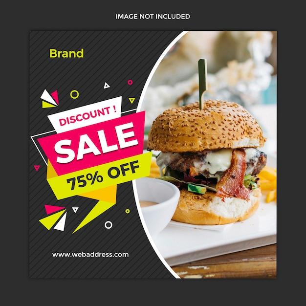 Insegna moderna di vendita dell'alimento e progettazione del modello della posta quadrata di instagram Psd Premium